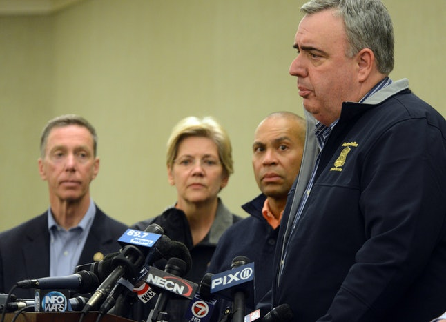 BOSTON, MA - APRIL 15:  Boston Police Commissioner Ed Davis, along with (L - R) U.S. Congressman Stephen Lynch, U.S. Senator Elizabeth Warren, and Governor Deval Patrick, addresses the media regarding mulitple explosions during the 117th Boston Marathon on April 15, 2013 at the Westin Hotel Copley in Boston, Massachusetts. Three people are confirmed dead and at least 141 injured after two explosions went off near the finish line to the marathon. (Photo by Darren McCollester/Getty Images)