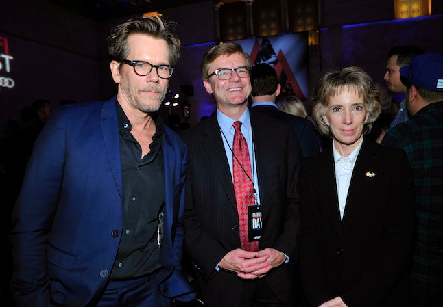 HOLLYWOOD, CA - NOVEMBER 17:  (L-R) Actor Kevin Bacon, Special Agent in Charge of the FBI's Boston Division Richard DesLauriers and Anne Graham attend the AFI Closing Night Screening of 'Patriots Day' at TCL Chinese Theatre on November 17, 2016 in Hollywood, California.  (Photo by John Sciulli/Getty Images for CBS Films)