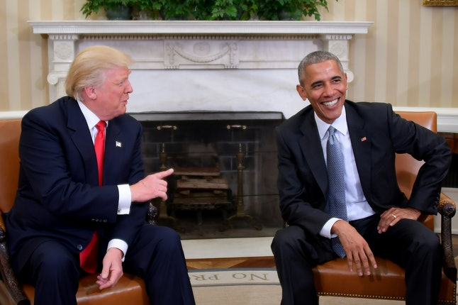 TOPSHOT - US President Barack Obama meets with President-elect Donald Trump in the Oval Office at the White House on November 10, 2016 in Washington, DC.