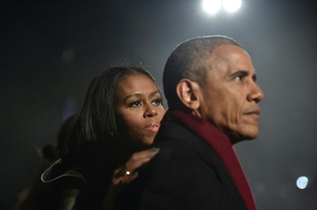 US President Barack Obama and First Lady Michelle Obama attend the National Christmas Tree Lighting on the Ellipse of the National Mall in Washington on December 1, 2016.