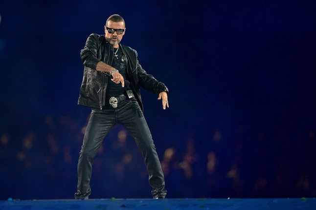 LONDON, ENGLAND - AUGUST 12:  George Michael performs during the Closing Ceremony on Day 16 of the London 2012 Olympic Games at Olympic Stadium on August 12, 2012 in London, England.  (Photo by Jeff J Mitchell/Getty Images)