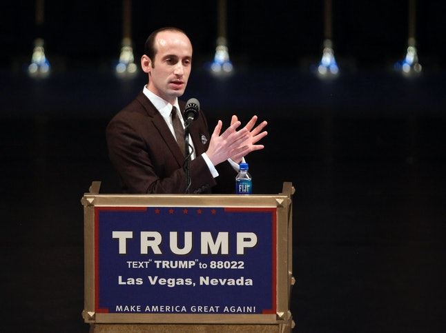 Donald Trump's senior policy adviser, Stephen Miller, speaks during a rally for Republican presidential candidate Donald Trump at the Treasure Island Hotel in Las Vegas on June 18, 2016.