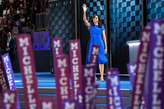 PHILADELPHIA, PA - JULY 25:  First lady Michelle Obama acknowledges the crowd after delivering remarks on the first day of the Democratic National Convention at the Wells Fargo Center, July 25, 2016 in Philadelphia, Pennsylvania. An estimated 50,000 people are expected in Philadelphia, including hundreds of protesters and members of the media. The four-day Democratic National Convention kicked off July 25.  (Photo by Aaron P. Bernstein/Getty Images)