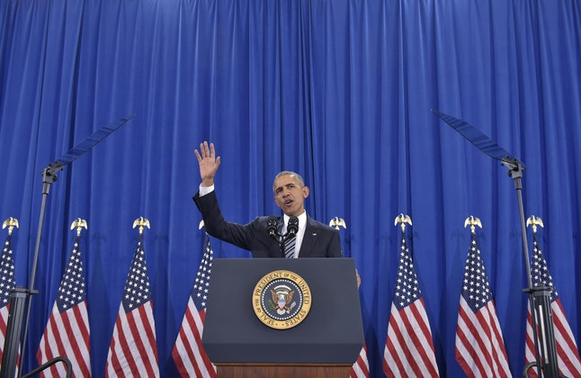US President Barack Obama speaks on counterterrorism at MacDill Air Force Base in Tampa, Florida on December 6, 2016.
