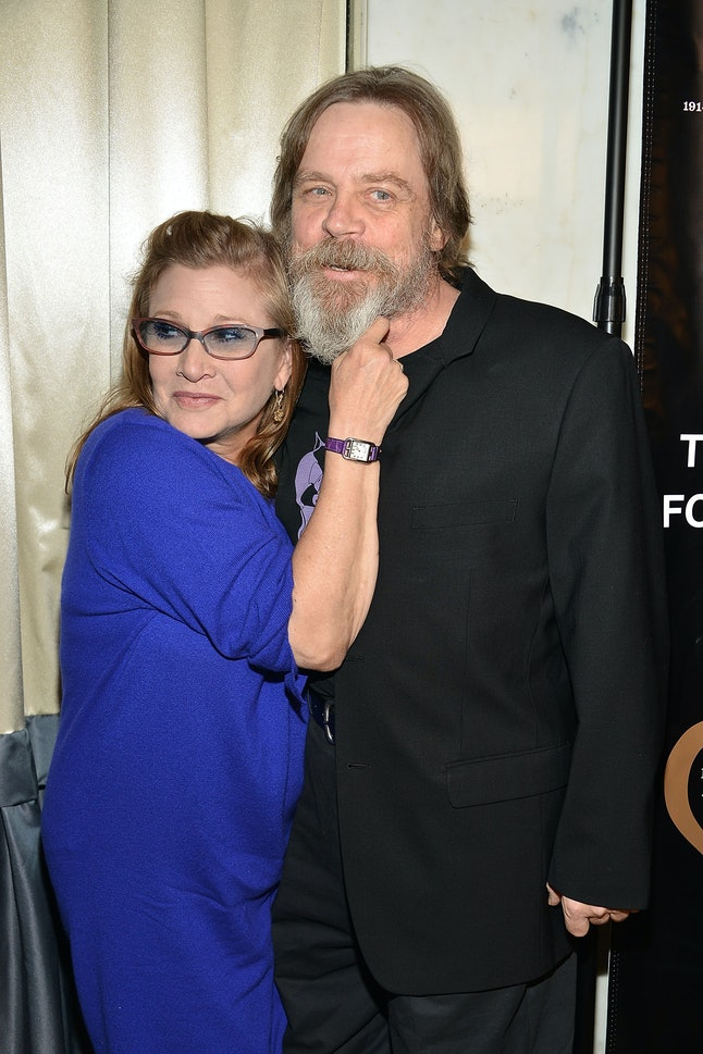 BEVERLY HILLS, CA - SEPTEMBER 30:  Carrie Fisher and Mark Hamill attend the Midnight Mission's 100 year anniversary Golden Heart Gala held at the Beverly Wilshire Four Seasons Hotel on September 30, 2014 in Beverly Hills, California.  (Photo by Araya Diaz/Getty Images for The Midnight Mission)