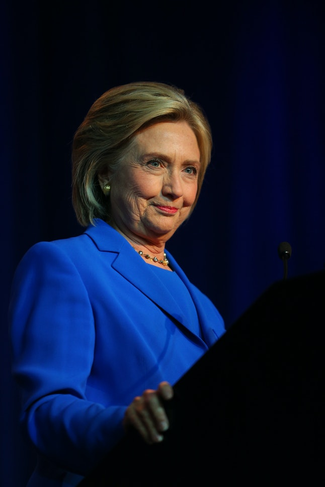MINNEAPOLIS, MN - AUGUST 28:  Democratic Presidential candidate Hillary Clinton speaks at the Democratic National Committee summer meeting on August 28, 2015 in Minneapolis, Minnesota.  Most of the Democratic Presidential candidates including Clinton, Bernie Sanders , Martin O'Malley and Lincoln Chafee are attending at the event. (Photo by Adam Bettcher/Getty Images)