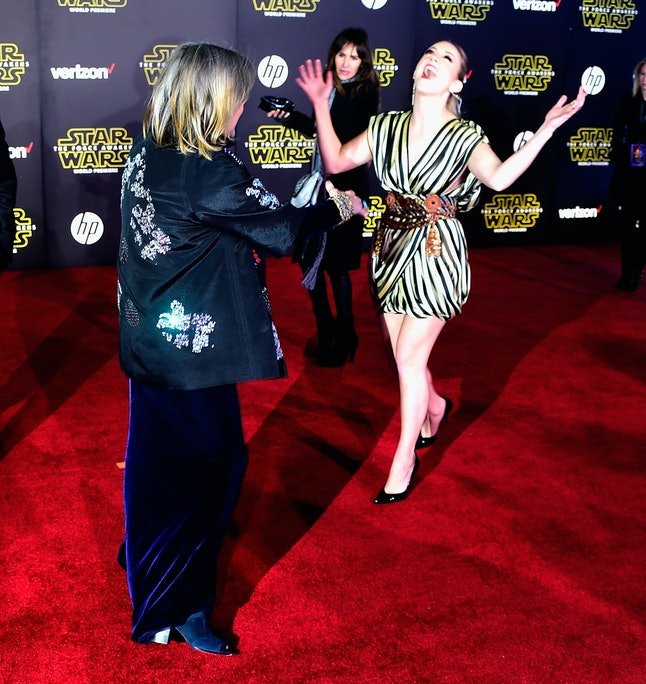 HOLLYWOOD, CA - DECEMBER 14: Actors Carrie Fisher and  Billie Lourd arrive at The Premiere of Walt Disney Pictures and Lucasfilm's 'Star Wars: The Force Awakens' on December 14, 2015 in Hollywood, California.  (Photo by Frazer Harrison/Getty Images)