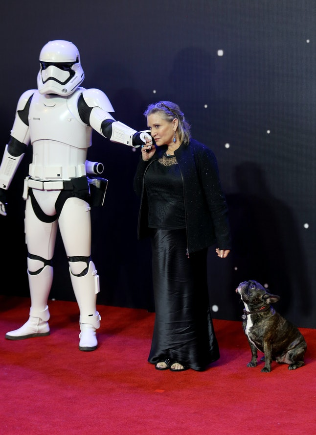 LONDON, ENGLAND - DECEMBER 16:  Carrie Fisher attends the European Premiere of 'Star Wars: The Force Awakens' at Leicester Square on December 16, 2015 in London, England.  (Photo by Chris Jackson/Getty Images)