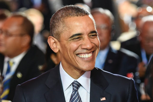 US President Barack Obama smiles during the inaugural session of the COP 21 United Nations conference on climate change, on November 30, 2015 at Le Bourget, on the outskirts of the French capital Paris. More than 150 world leaders are meeting under heightened security,  for the 21st Session of the Conference of the Parties to the United Nations Framework Convention on Climate Change (COP21/CMP11), also known as 'Paris 2015' from November 30 to December 11.