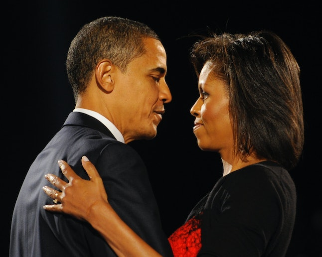 US President-elect Barack Obama and his wife Michelle during an election night party in Chicago, Illinois, November 4, 2008.
