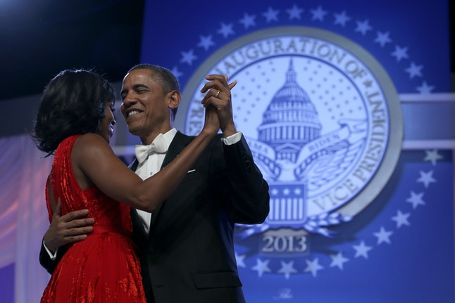 WASHINGTON, DC - JANUARY 21:  U.S. President Barack Obama and first lady Michelle Obama dance during the Commander in Chief Inaugural Ball at the Walter E. Washington Convention Center on January 21, 2013 in Washington, DC. President Obama was sworn in for his second term earlier in the day.  (Photo by Alex Wong/Getty Images)