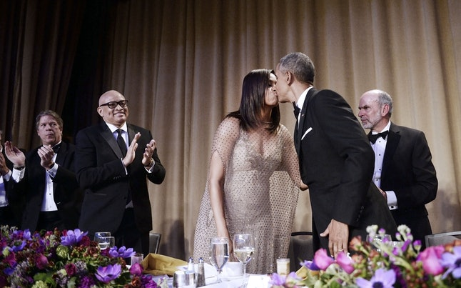 WASHINGTON, DC - APRIL 30: (AFP OUT) President Barack Obama kisses First Lady Michelle Obama after speaking at the White House Correspondents' Association annual dinner on April 30, 2016 at the Washington Hilton hotel in Washington, DC. This is President Obama's eighth and final White House Correspondents' Association dinner (Photo by Olivier Douliery-Pool/Getty Images)