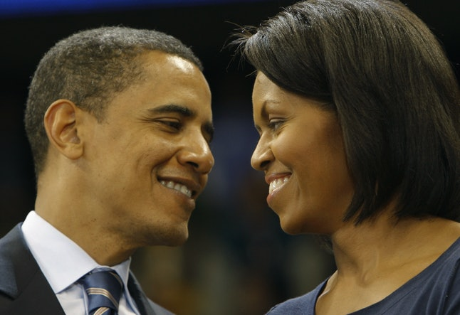 Democratic presidential candidate US Senator Barack Obama and his wife Michelle during a rally at University of Pittsburgh in Pittsburgh, Pennsylvania,  April 21, 2008.  Pennsylvania will hold its primary vote on April 22.