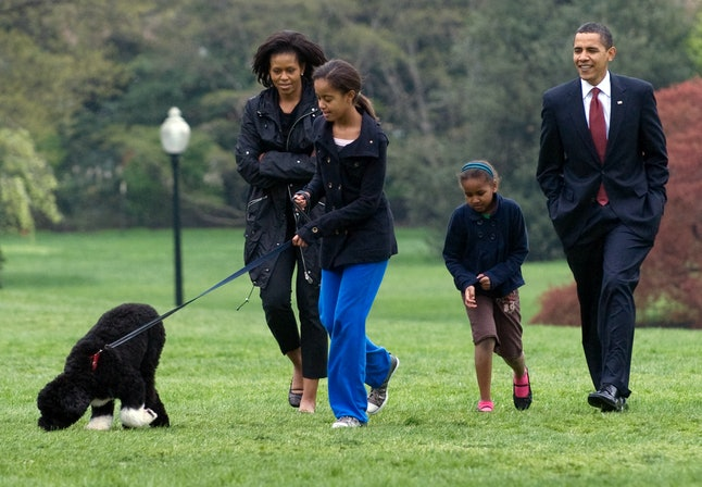 Malia Obama walks her new six-month old Portuguese water dog Bo alongside US President Barack Obama, Sasha Obama and First Lady Michelle Obama on the South Lawn of the White House in Washington, DC, on April 14, 2009.