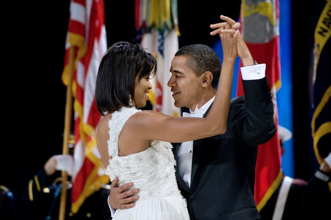 US President Barack Obama and First Lady Michelle Obama dance during the Midwestern Regional Inaugural Ball at the Washington Convention Center in Washington, DC, January 20, 2009. Obama was sworn in as the 44th US president earlier in the day.