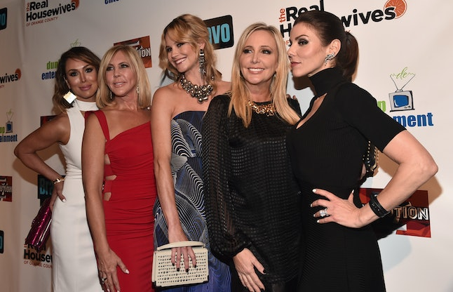 HOLLYWOOD, CA - JUNE 16:  TV persoanlities Kelly Dodd, Vicki Gunvalson, Meghan King Edmonds, Shannon Beador and Heather Dubrow attend the premiere party for Bravo's 'The Real Housewives of Orange County' 10 year celebration  at Boulevard3 on June 16, 2016 in Hollywood, California.  (Photo by Alberto E. Rodriguez/Getty Images)