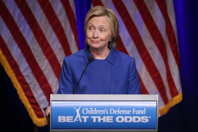 WASHINGTON, DC - NOVEMBER 16:  Former Secretary of State Hillary Clinton delivers remarks while being honored during the Children's Defense Fund's Beat the Odds Celebration at the Newseum November 16, 2016 in Washington, DC. This was the first time Clinton had spoken in public since conceeding the presidential race to Republican Donald Trump.  (Photo by Chip Somodevilla/Getty Images)