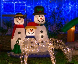 Christmas lights on decorations outside