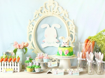 a table with easter decorations