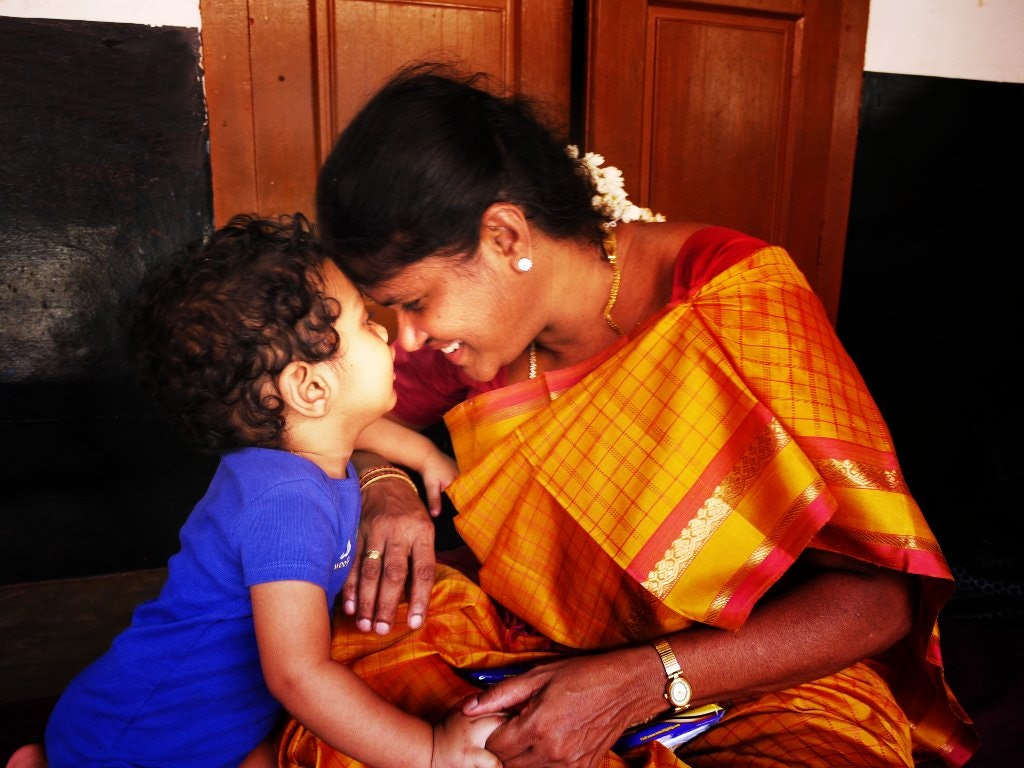 Indian mother and son-