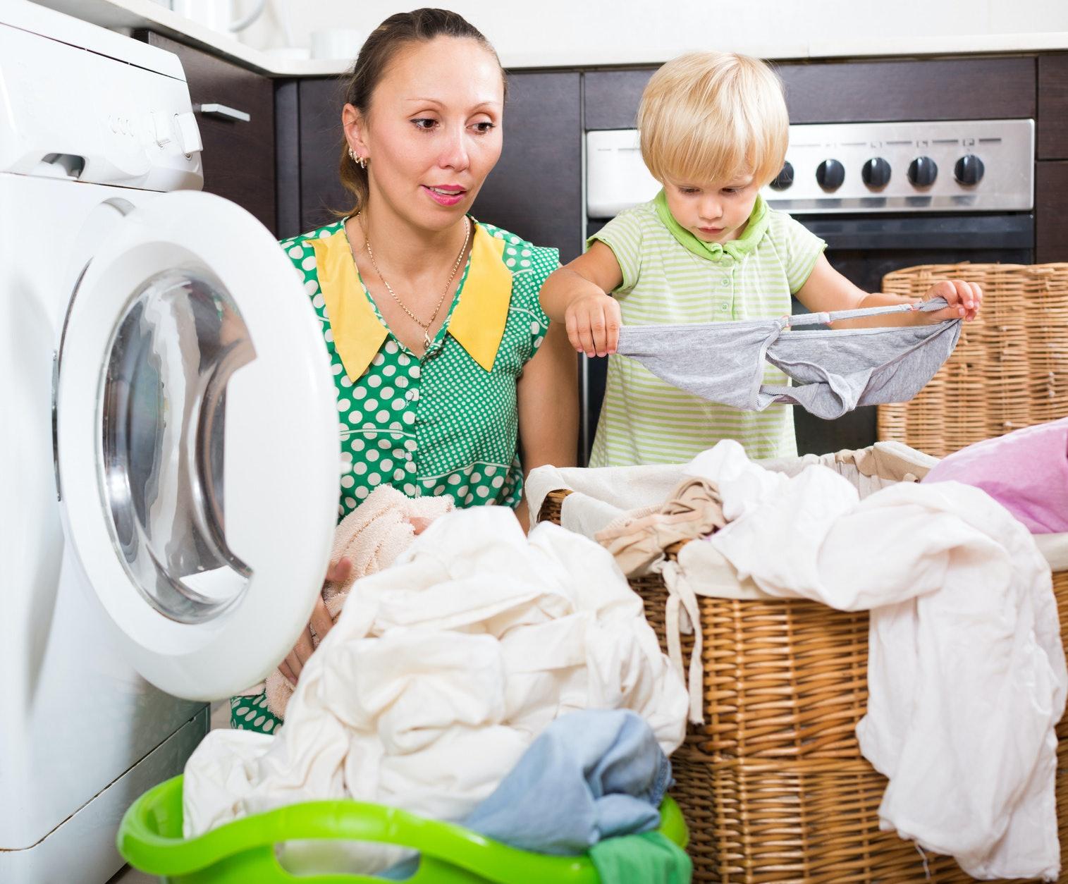 Naked moms doing laundry