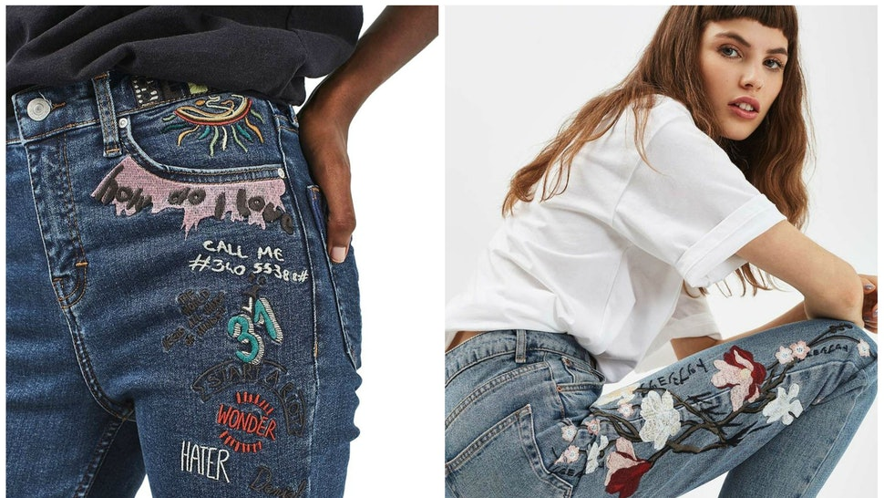 d8555f52850 Where To Buy Embroidered Jeans, The Biggest Denim Trend Right Now
