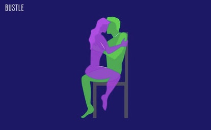 For another sitting sex position, try hooking up in a chair.