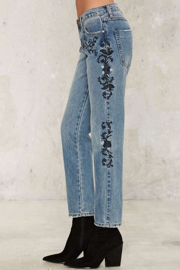 Vintage Lucky Brand Butterfly Embroidered Straight Leg Jeans, Vintage Denim,  Vintage Women's Clothing,