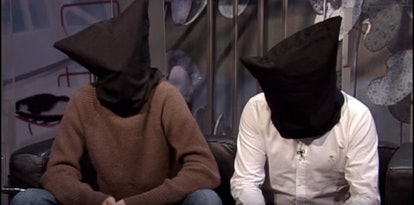 Daft Punk wear bags over their heads to hide their faces.