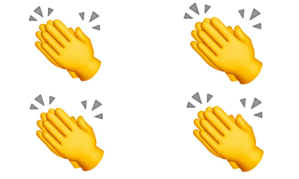 what does the clapping hands emoji mean on twitter it goes back