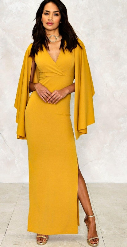 what to wear fall wedding - yellow cape dress