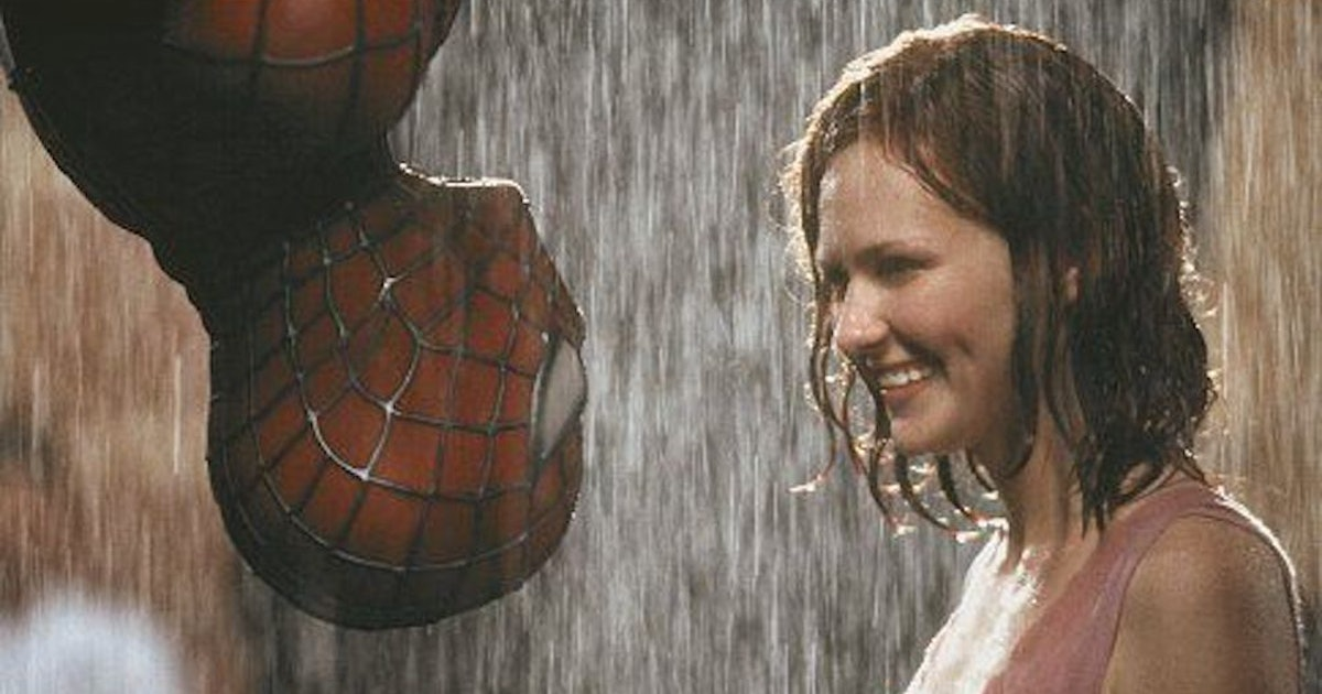 """Spider-Man (Tobey Maguire) left and Mary Jane Watson (Kirsten Dunst) right in """"Spider-Man"""" (2002)"""