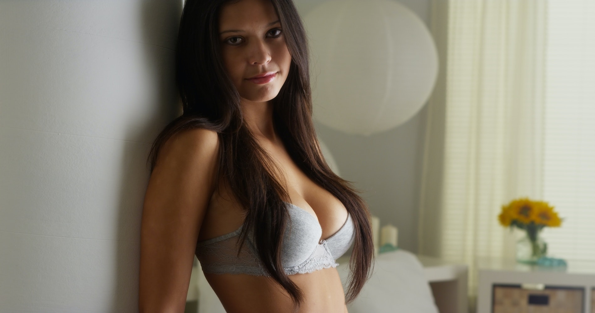 Thin large breasts model