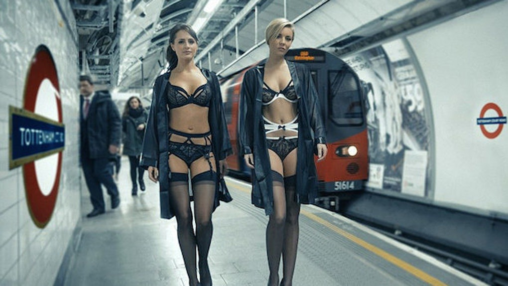 official photos performance sportswear good quality Lingerie Models Spice Up Morning Commute In The London ...