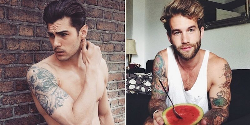 Sexy boys in tats making out