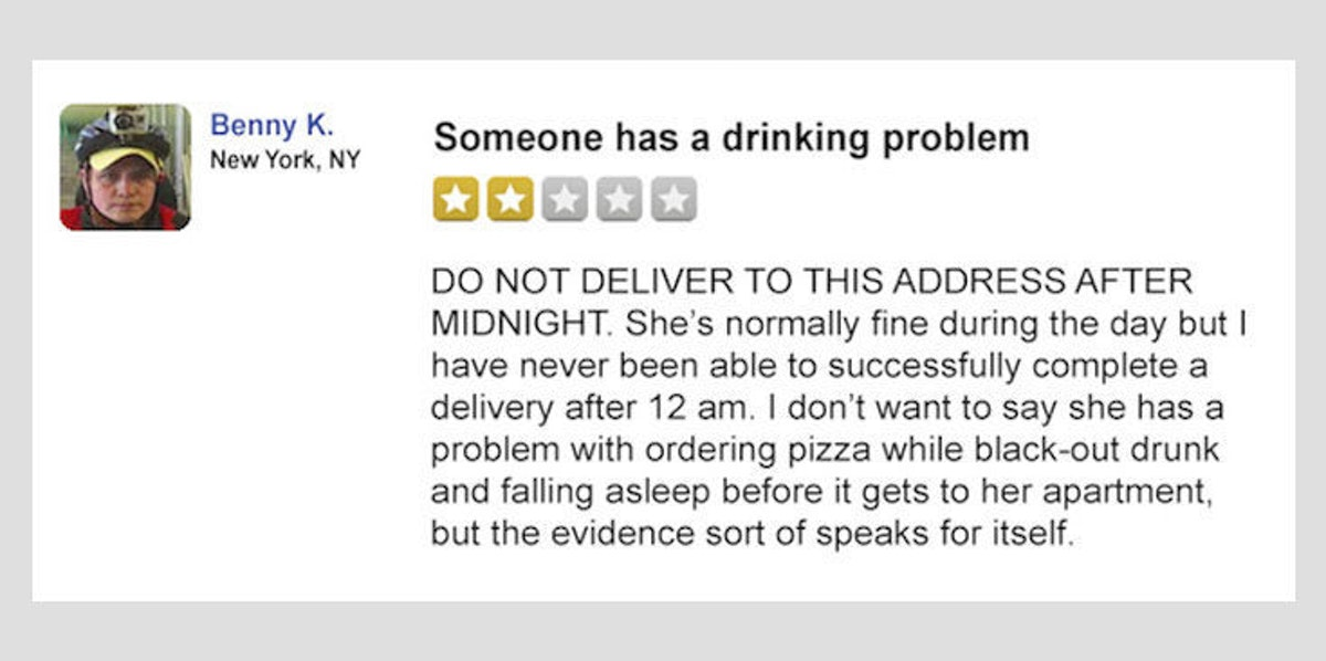 This Is What It Would Look Like If Delivery Guys Left Reviews For You