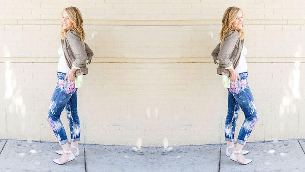 How To Diy Blake Lively S 500 Cherry Blossom Boyfriend Jeans