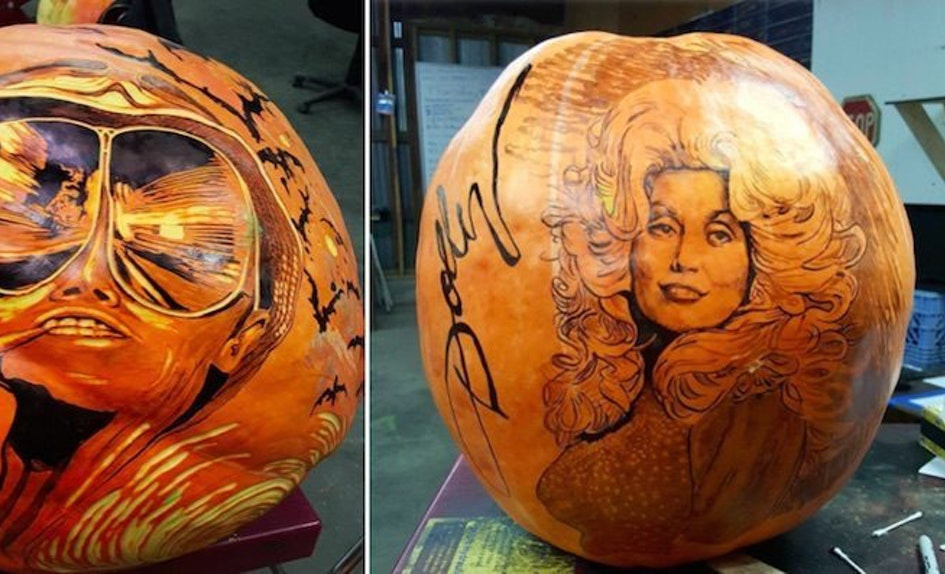 this artist wins the jack o lantern game with his awesome pumpkin