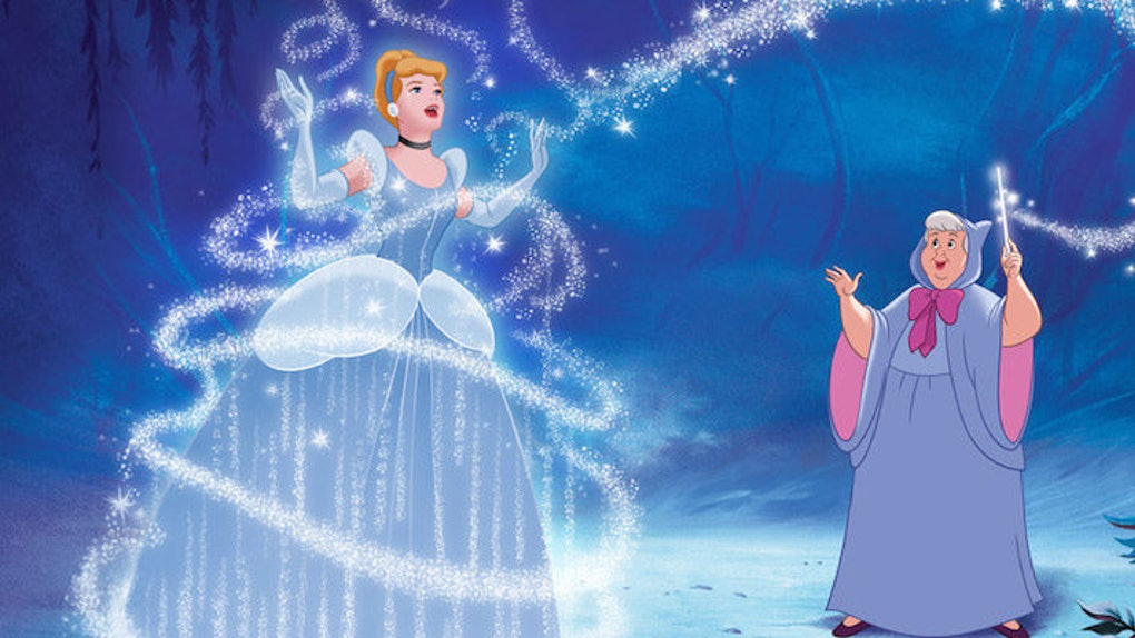 Cinderella's fairy godmother making her fairy tale a reality  in a screengrab of the cartoon movie