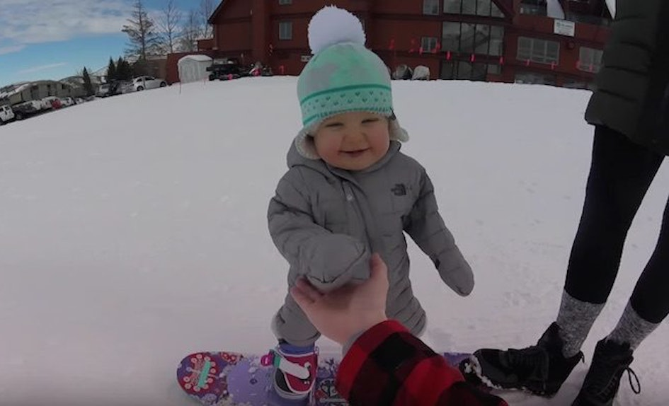 this 14 month old baby can snowboard better than most adults