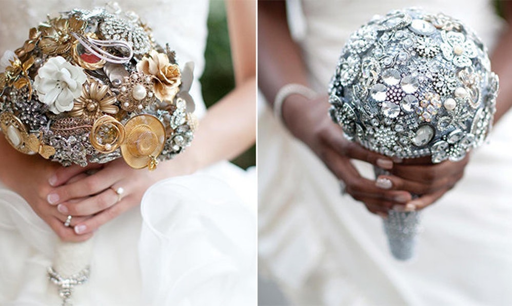 Brooch Bouquets Are The Sparkly Wedding Trend That\'s Way Cooler Than ...