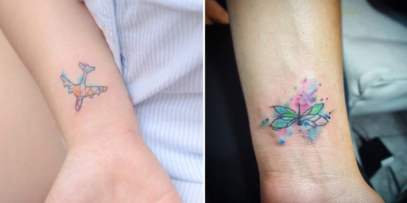 Image of: Lion Tattoo Elite Daily 20 Tiny Watercolor Tattoos That Will Inspire You To Be Artsy Af