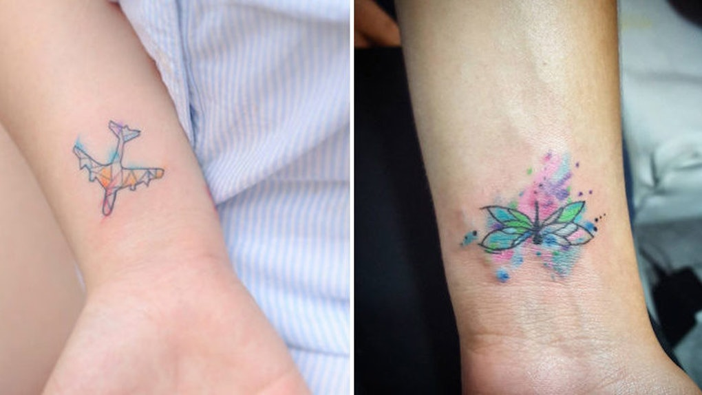 c47d3073e 20 Tiny Watercolor Tattoos That Will Inspire You To Be Artsy AF