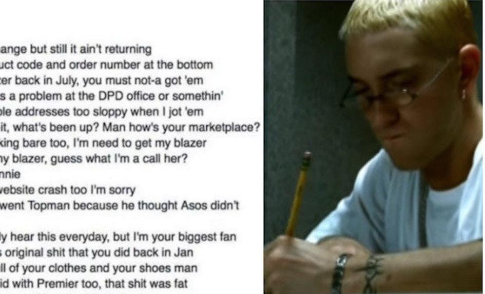 guy trolls clothing store with eminem lyrics and store spits rhymes