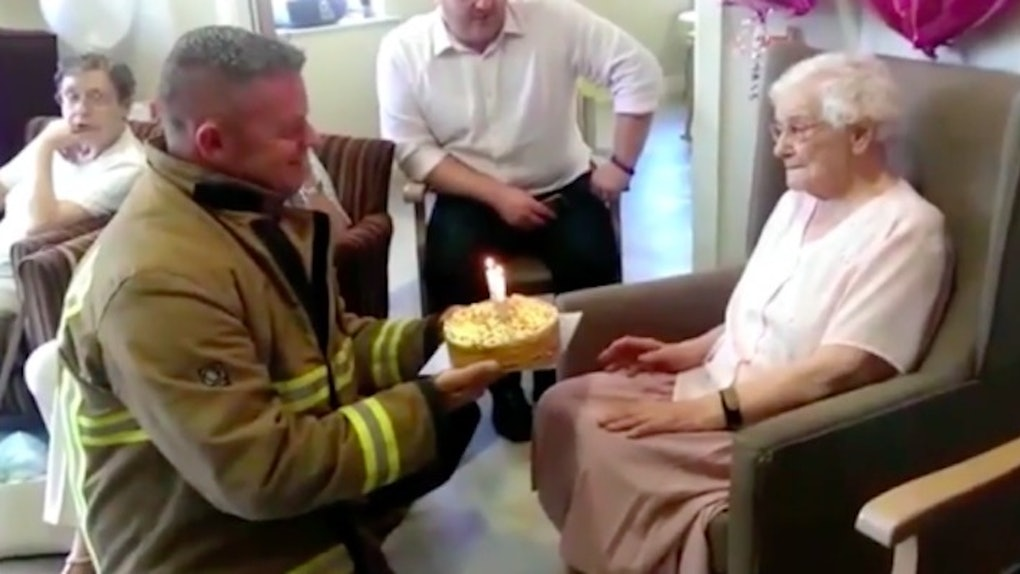105 Year Old Woman Wanted A Hot Firefighter For Her Birthday And She Got One