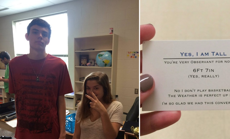 Tall teen gives business cards to anyone asking his height colourmoves