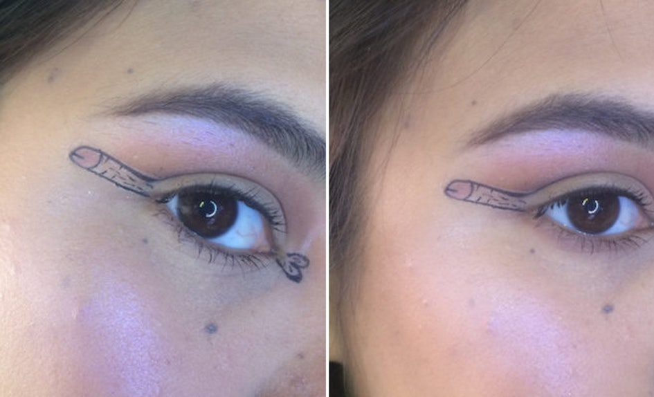 Teen Drew Dick Liner On Her Eyes To Diss Makeup Trends