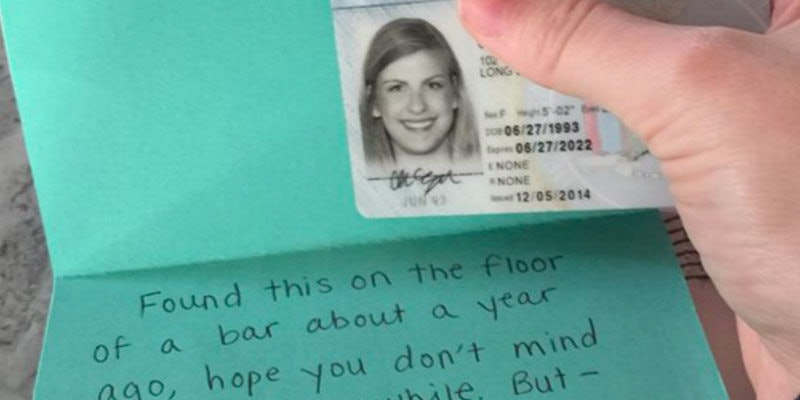 Lost ID Returned After A 21-Year-Old Was Done Using It