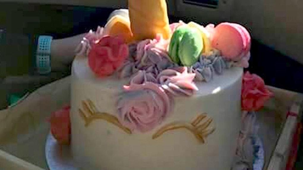 Astounding Little Girl Gets An X Rated Unicorn Birthday Cake Funny Birthday Cards Online Aboleapandamsfinfo