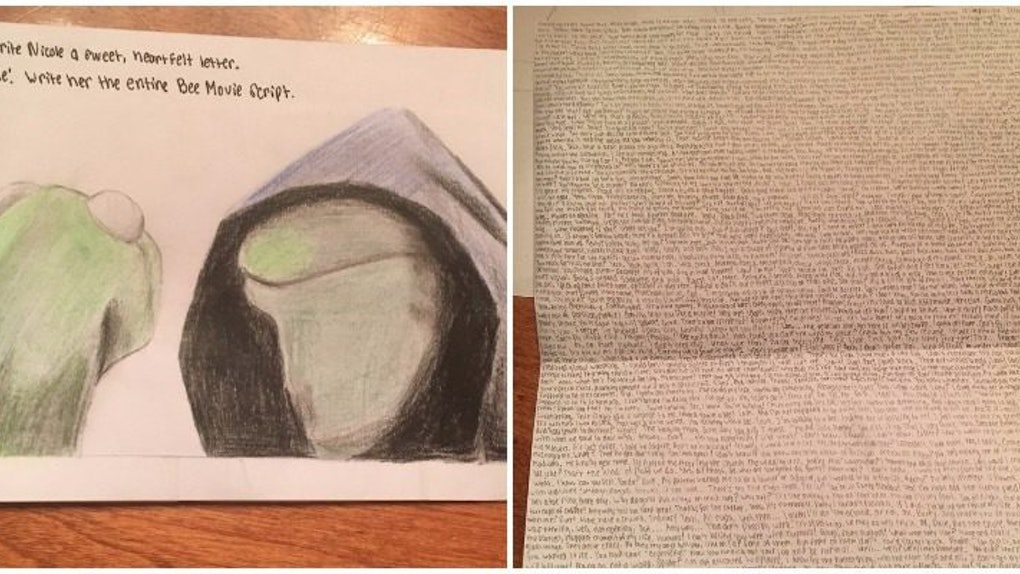 Guy Writes Out Entire 'Bee Movie' Script In Card For Girlfriend